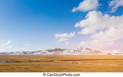 Iceland mountain in with snow covered with blue sky