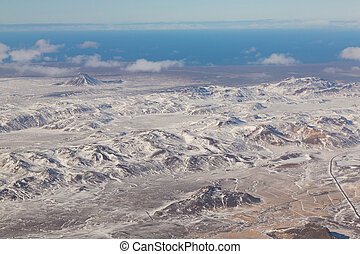 Iceland mountain view from above during winter season