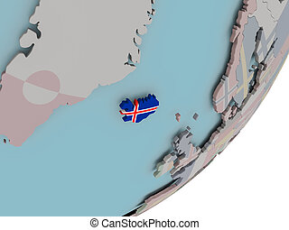 Iceland on globe with flags