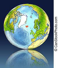 Iceland on globe with reflection