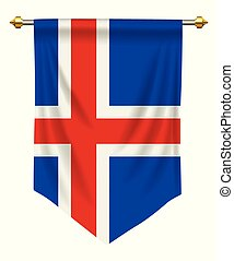 Iceland Pennant - Iceland flag or pennant isolated on white