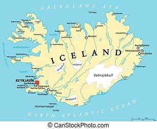 Iceland Political Map with capital Reykjavik, national...