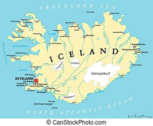 Iceland Political Map with capital Reykjavik, national borders, important cities, rivers, lakes and glaciers. English labeling and scaling. Illustration.