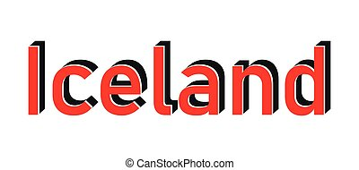 Iceland red stamp text on white