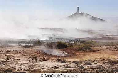 Iceland. Reykjanes Peninsula. Gunnuhver geothermal area....