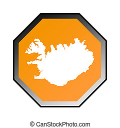 Iceland road sign isolated on a white background.