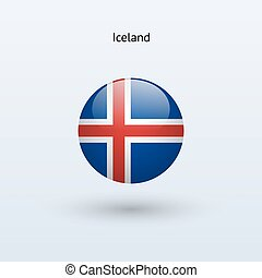 Iceland round flag. Vector illustration.