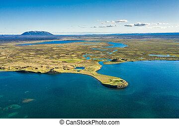 iceland., see, myvatn, nord, oben, landschaftsbild, wiew