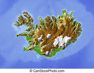 Iceland, shaded relief map. Colored according to elevation....