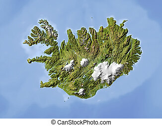 Iceland, shaded relief map. Colored according to vegetation....
