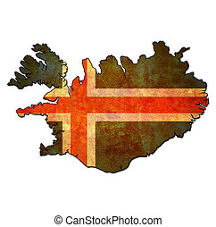 iceland territory with flag