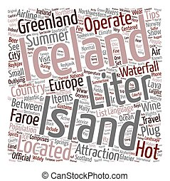 Iceland text background wordcloud concept