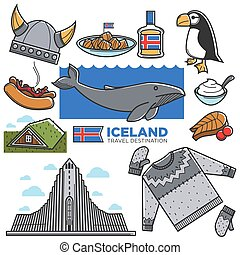 Iceland travel tourism landmarks and Reykjavik tourist culture famous attractions vector icons