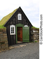 Iceland turf house - Traditional turf roof house in Iceland.