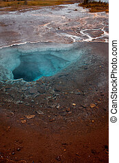 Iceland, valley of geysers, springs of hot geothermal water