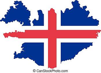 iceland vlag, kaart