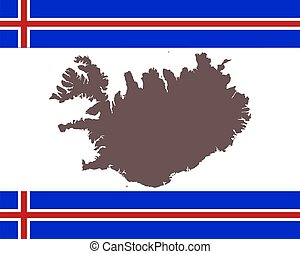 iceland vlag, kaartachtergrond