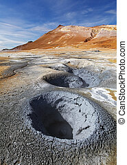 Iceland, Volcanic landscape Namafjall - Fumarole field in...
