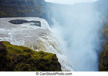 Iceland, waterfall Gullfoss tour of the Golden ring -...
