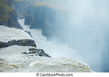 Iceland, waterfall Gullfoss tour of the Golden ring -...