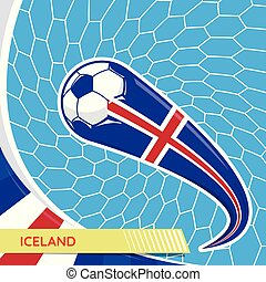Iceland waving flag and soccer ball in goal net
