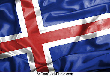 Iceland waving flag