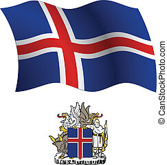 iceland wavy flag and coat