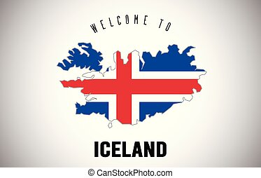 Iceland Welcome to Text and Country flag inside Country border Map Vector Design.