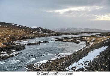 Iceland Winter River Landscape