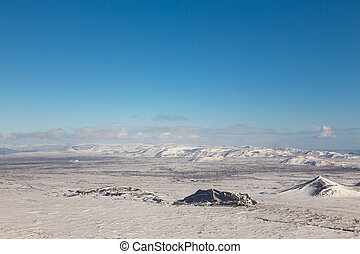 Iceland winter season natural landscape aerial view