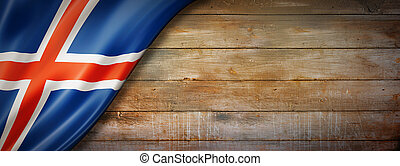 Icelandic flag on vintage wood wall banner