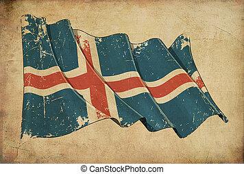 Icelandic Grunge Flag Textured Background