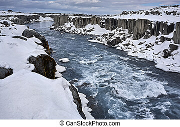 Icelandic landscape with canyon and river