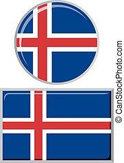 Icelandic round and square icon flag.