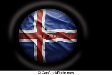 Icelandic Target - Sniper scope aimed at the Icelandic flag