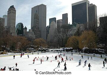 iceskating, 中に, ニューヨーク