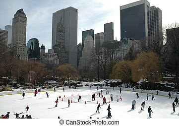 iceskating, 在中, 纽约
