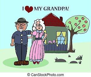 ich, dziadkowie, razem, day., szczęśliwy, home.
