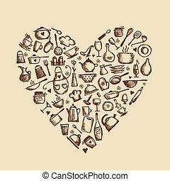ich, liebe, cooking!, küchenutensilien, skizze, herz- form, für, dein, design