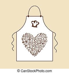 ich, liebe, cooking!, schuerze, mit, küchenutensilien,...