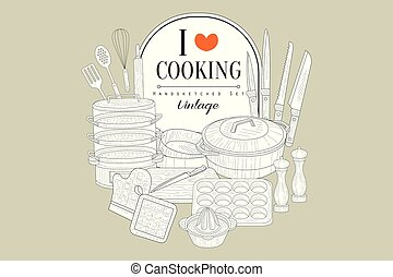 ich, liebe, kochen, kreativ, weinlese, plakat, mit, küche geräte, handsketched, vektor, abbildung