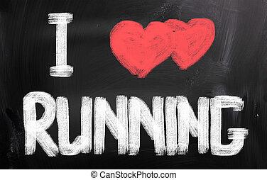 ich, liebe, rennender , begriff