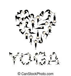 ich, liebe, yoga!, herz- form, für, dein, design