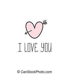 ich, liebe, you., valentine, tag, card., handgearbeitet, beschriftung, für, dein, desi