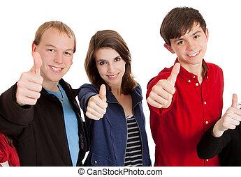 ich, trzy, kciuki, nastolatki, do góry