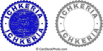 ichkeria, 切手, textured, グランジ, シール