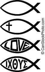 Set of four ichthus christian fish religion symbols, blank, cross, love and Greek letters, sharp black vector illustration, isolated for easy editing