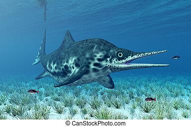 Ichthyosaur Shonisaurus - Computer generated 3D illustration...