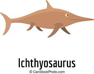 Ichthyosaurus icon, flat style.