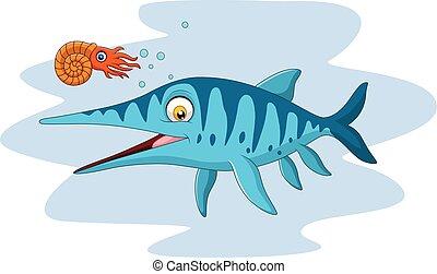 ichthyosaurus, mosolygós, nautilusz, karikatúra